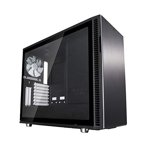 Fractal Design Define R6 Black Tempered Glass, PC Gehäuse (Midi Tower mit Seitenteil aus gehärtetem Glas) Case Modding für (High End) Gaming PC, schwarz