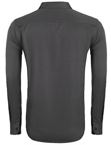 COOFANDY Herren Hemd Slim Fit Langarmhemd Freizeit Kentkragen Sommer Herren Hemden Business Party Shirt Für Männer Grau M - 4