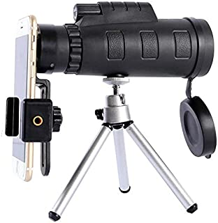 Excelsior Mobile Camera Lens | Monocular Telescope | 40x60 High Power Monocular | Smartphone Holder and Tripod | Single Hand Focus | Compatible with All Smartphones (Black)