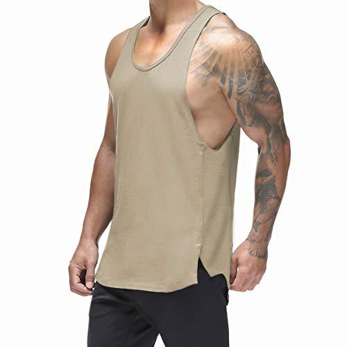 Magiftbox - Canotta da allenamento da uomo, in rete, ad asciugatura rapida, per bodybuilding, palestra, allenamento, nero/mimetico T09A - Beige - S