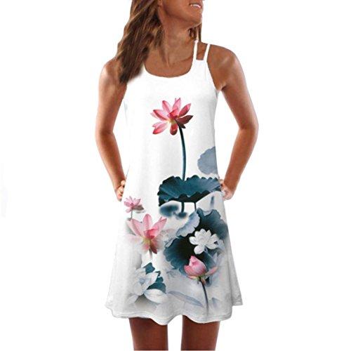 VEMOW Sommer Elegante Damen Frauen Lose Vintage Sleeveless 3D Blumendruck Bohe Casual Täglichen Party Strand Urlaub Tank Short Mini Kleid(Weiß 5, 42 DE/XL CN)