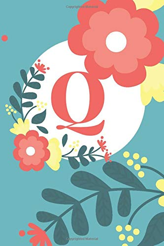 Q: Cute Alphabet Initial Letter Q is Great Gift Lined Journal Notebook ,Pretty Personalized Medium Diary For Writing & Note Taking  Boys Girls Teens ... , gag, college ,Gold Pink Floral Print