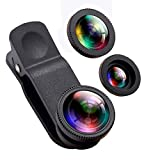 Phone Camera Lens,OANDE 3 in 1 Phone Lens 180° Fisheye Lens,10X Macro Lens, 0.65X Wide Angle Lens,Cell Phone Lens HD Camera Lens Kits Compatible with iPhone 8/7/6s Plus/6s/5s and Smart Cellphone
