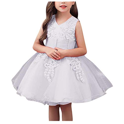LuckyGirls Princess Dress Little Girl Elegant Party Dresses Compleans Girls Kids Bride Dress Casual Dance Sleeveless Dresses