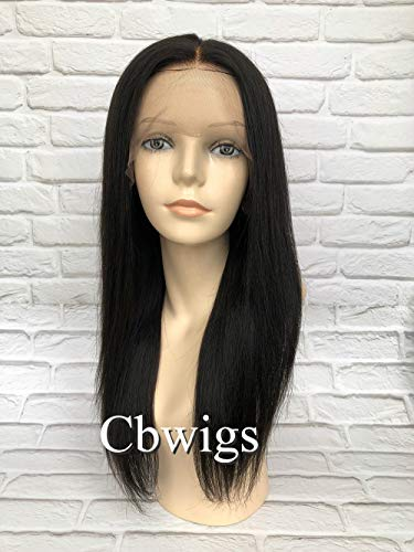 Cbwigs Glueless Brazilian Remy Yaki Straight Lace Front Wig Light Yaki Human Hair Wigs (24 inch 140% Density, Natural Color)