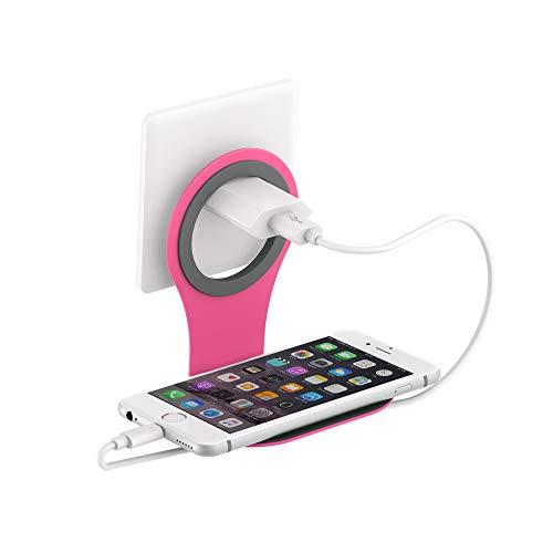 Xlayer Colour Line Steckdosenhalterung für Smartphone, Handy Halterung für alle gängigen Ladekabel, Pink