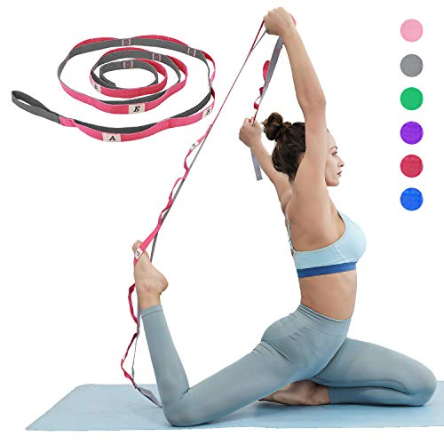 KerKoor Yoga-Stretchband, Multi-Schlaufen, verstellbares Übungsband für Stretching, Physiotherapie, Workout, Pilates, Tanzen und Gymnastik, mit Tragetasche
