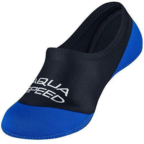 Aqua Speed Neopren Socken Jungen Kinder | Neoprensocken rutschfest | Aquasocks leicht elastisch | Wasser Socken | rutschfeste Schwimmsocken | Tauchsocken | Gr. 26-27 | 11 Schwarz - Blau