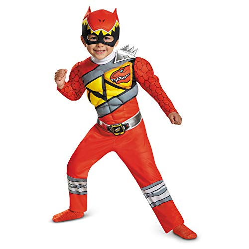 Red Power Rangers Costume for Toddlers. Official Licensed Red Ranger Dino Charge Classic Muscle Power Ranger Suit with Mask for Boys & Girls, Large (4-6)