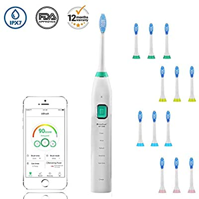 HOLDPEAK 338B Rechargeable Sonic Toothbrush,APP Function Support,12 Food Grade Replacement Heads and Travel Case for Adults