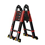 WXQIANG Extensión de Escalera, telescópica contra la Pared Recta Escalera, Escalera Plegable de Aluminio Multiuso, Escalera Portátil A-Frame, EN131 Certificado