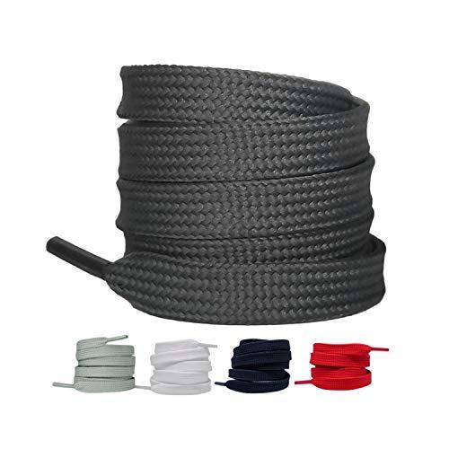 LaceHype 2 Paar - Premium Flache Schnürsenkel reißfeste Schuhbänder [10 mm breit ] Ersatz Shoelaces aus Polyester für Sneakers, Sportschuhe, Laufschuhe, Turnschuhe (Dunkelgrau, 110)