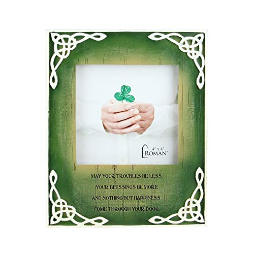 Roman 7' Green and Ivory Distressed Celtic Knots Photo Frame for 4 x 4 Photo