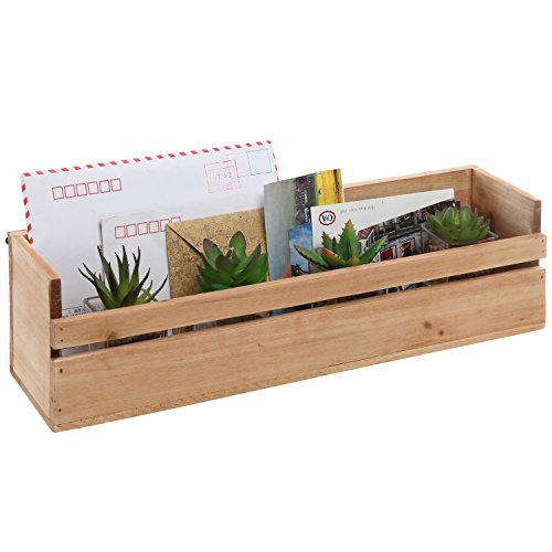 MyGift Handmade Wall Mounted Decorative Wooden Shelf, Storage Box Organizer, Beige