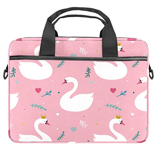 Briefcases Waterproof Computer Tablet Shoulder Bag Carrying Case Handbag for Men and Women White Crown Swan Green Leaves Pink