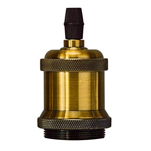Portalampada E27 vintage in ceramica solida con portalampada e adattatore per lampada industriale retrò Edison per lampada a sospensione fai-da-te (Brass)
