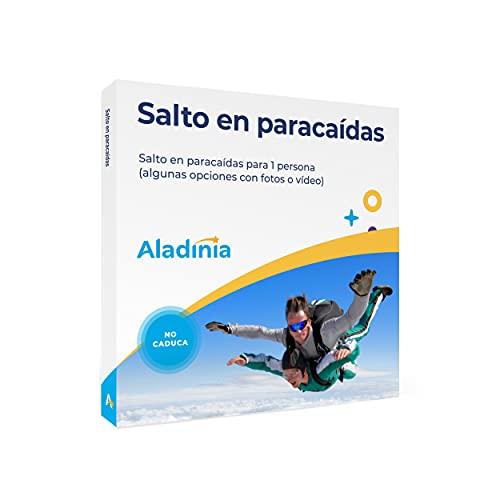 ALADINIA Salto en Paracaídas. Cofre de experiencias para Regalar. Pack Aventura de Salto Tandem en Paracaídas para una Persona. No Caduca, Cambios de Experiencia Gratis e Ilimitados