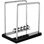 【High-quality Materials】The Newtons cradle is made of high-quality metal steel and solid wood base and nylon wire. It is more durable and will not break easily. It is bright, anti-corrosive and not easy to rust. It can be used for a long time 【Perfec...