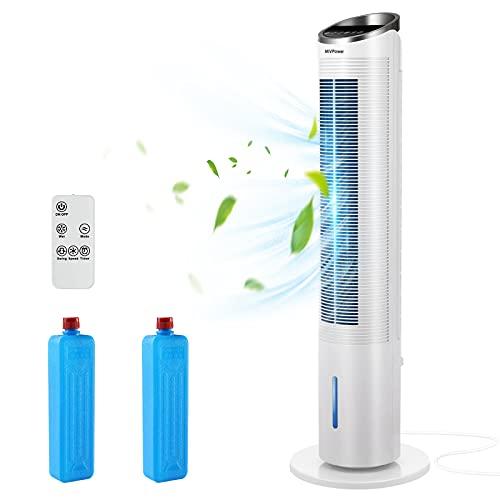 MVPower Ventilatore a Torre, Ventilatore con Telecomando e Raffreddamento ad Acqua, Condizionatore d'Aria Mobile, Ventola Silenziosa con 3 Livelli di Velocità Oscillazione 50 ° Modalità Dormire, 101cm