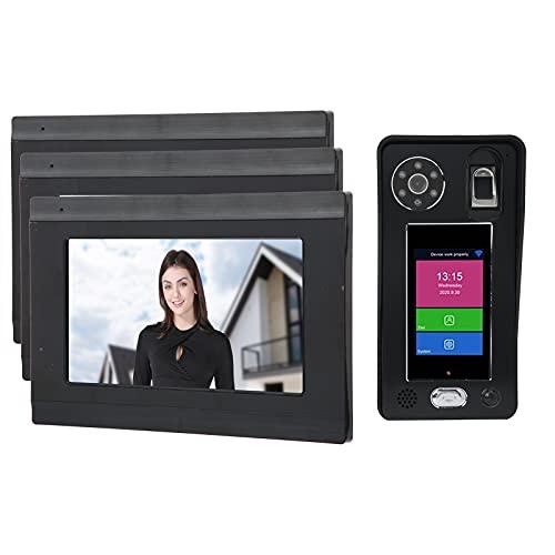 Mxzzand WiFi Videoportero Inalámbrico Timbre Huella Digital Contraseña Control Remoto Aplicación Desbloqueo Timbre Inteligente(Black)