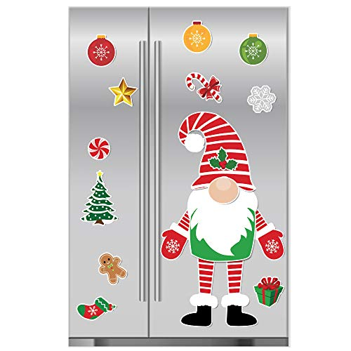 Christmas Gnome Refrigerator Magnets Set, 20 PCS Cute Swedish Tomte Gnomes Christmas Tree Snowflake Sock Holly Magnetic Stickers for Fridge, DIY Scandinavian Magnets, Xmas Holiday Decorations