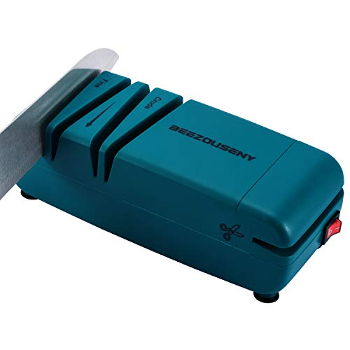 Beezouseny Knife Sharpener Electric 50W 110VAC Plug In Kitchen Knives Scissors Sharpener Machine For Home And Chef 2 Wide Stages 15Degree Bevel Green