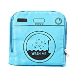 """Product Image of the Miamica Foldable Travel Laundry Bag, 21"""" x 22"""", 'Wash Me' Blue – Lightweight, Durable Design with Drawstring Closure"""