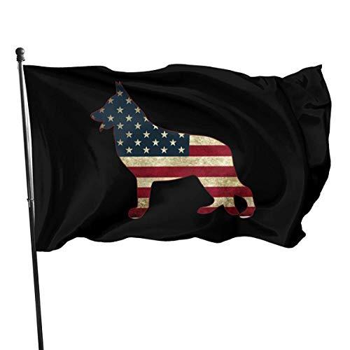 'N/A' German Shepherd American Flag 3x5 FT American Flag, Outdoor Banner, Family Banner, Garden Banner Black