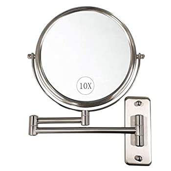 Wall Mounted Makeup Mirror - 10x Magnification 8   Two-Sided Swivel Extendable Bathroom Mirror Nickel Finish ALHAKIN