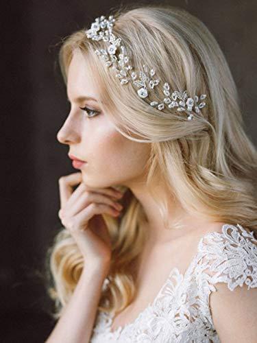 Mayelia Perlen-langes Brautstirnband mit Blättern, Brautschmuck, Hochzeits-Haarschmuck, silberne Perlen, Kopfschmuck für Frauen und Mädchen