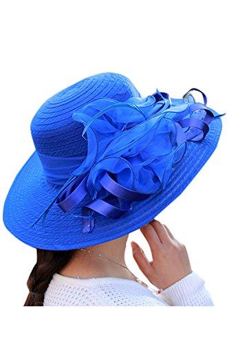 Zonsaoja La Mujer del Kentucky Derby Sombrero Vestido Elegante Iglesia Iglesia Sol Editor Azul One Size