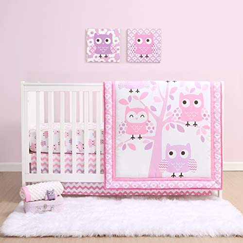 The Peanutshell Dancing Owl Crib Bedding Set for Baby Girls | 3 Piece Nursery Set | Baby Quilt, Crib Sheet, and Dust Ruffle
