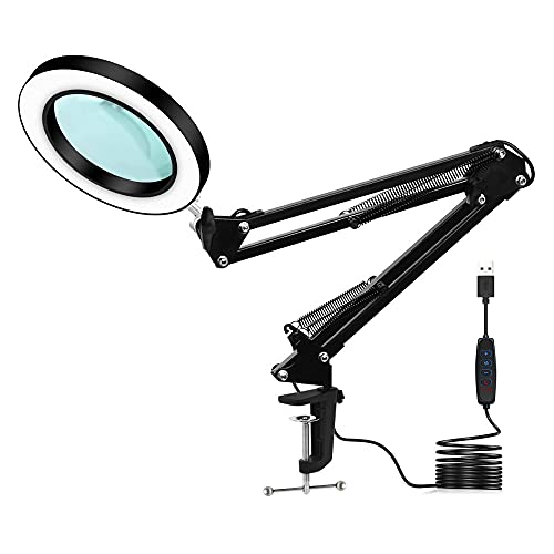 GOLDSTON Magnifying Glass Lamp LED Desk Lamp 3 Colors Adjustable USB Power Supply Household Tools for Reading Close Work Sewing Maintenance Painting Magnifier with Light and Stand