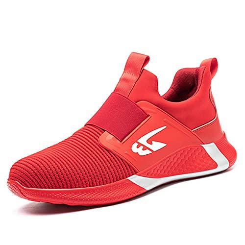WggWy Zapatos con Punta De Acero para Hombres Y Mujeres, Zapatos De Trabajo De Seguridad, Zapatos De Construcción Indestructibles De Malla Transpirable De Verano,Rojo,5