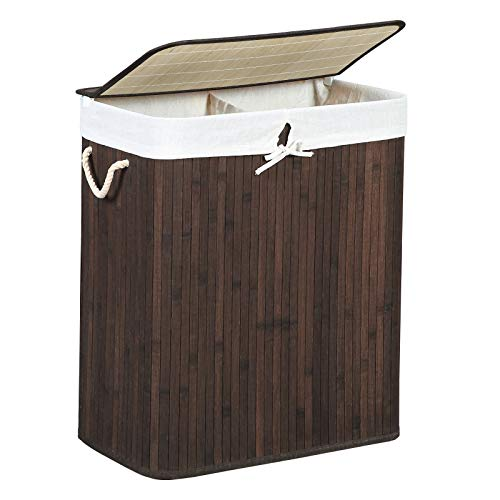 SONGMICS Wäschekorb 100 L, Wäschesammler aus Bambus, Wäschesortierer, Wäschetruhe mit getrennten Fächern, mit Griffen, Deckel mit Clips, faltbar, Wäschesack herausnehmbar, braun LCB72Z