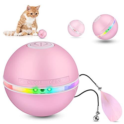 DazSpirit Juguetes para Gatos Interactivos Bola De Gato, Pelotas De Juguete para Gatos Eléctrica Interactivo Pelotas para Gatos con Luz Led, 360 Grados Automática Giratoria, Carga USB, Rosado