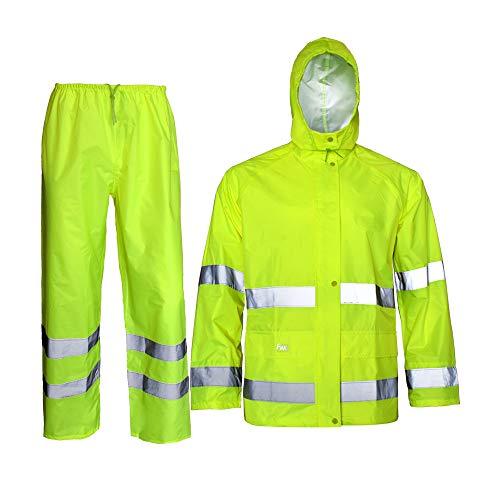 Rain Jacket with Pants for Men Women Waterproof Rain Coat 3-Pieces Ultra-Lite Suits (XX-Large, Fluorescence)