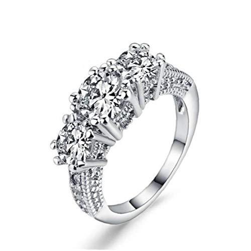 Frauen-verlobungsring-dame-finger-ring 10k Weißes Gold Füllte Ring Schmuck Ehering Drei-stein-ring 8 Zoll