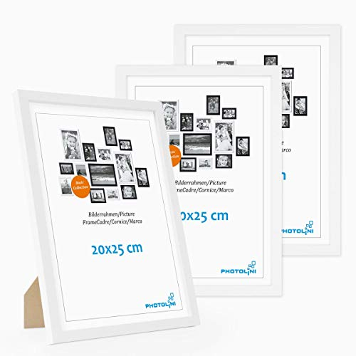 Photolini Set di 3 cornici per Foto da 20x25 cm Modern Bianco in MDF con Vetro Acrilico, Accessori Inclusi/Collage Foto/Galleria Fotografica