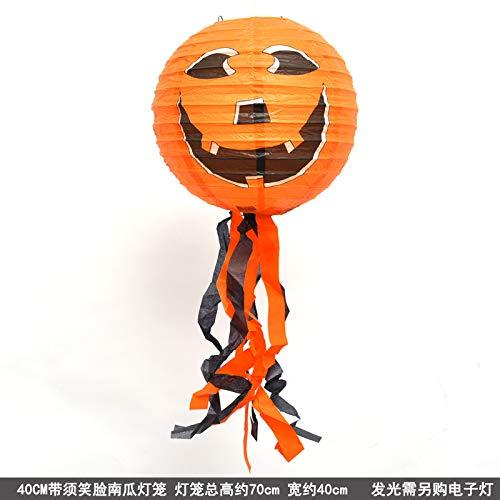 Halloween-Dekorations-Szenen-Anordnungs-Requisiten mit Kürbis-Laternen-Papier Große Laterne, die Geisterhaus 40cm mit smiley-Gesicht hängt
