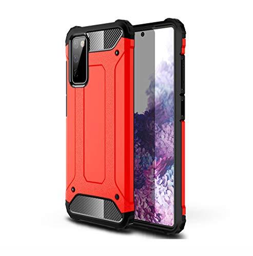 GOGME Hülle für Samsung Galaxy S20 FE (Fan Edition) 5G/4G, Komplette Hybrid-Stoßabdämpfende Hülle, Outdoor Handyhülle Tough Silikon TPU + 360-Grad-Ganzkörper Schutzhülle Gegen Stöße, Rot