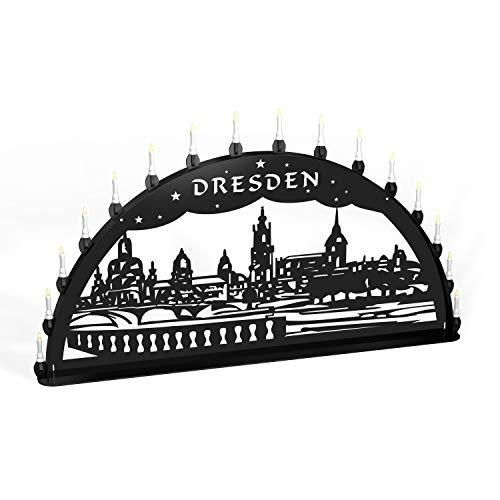 Colours-Manufaktur Außenschwibbogen Schwibbogen Lichterbogen Metall - Motiv: Dresden Canalettoblick - XXL 1,5 Meter Breite Außen-Bereich schwarz * riesen groß * Weihnachten Dresdner Frauenkirche