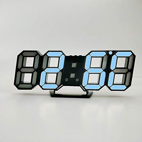 HOOBBI LED elektronische Wanduhr Digital 3D LED-Tabellen-Wecker 24/12 Stunden-Anzeige Weckersnooze Uhr Helligkeit einstellen (Color : Blau)