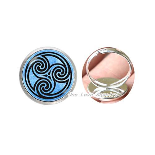 Anillo de círculo celta joyería celta adorno celta anillo ornamento anillo triscilión diseño anillo cristal idea regalo azul TAP361