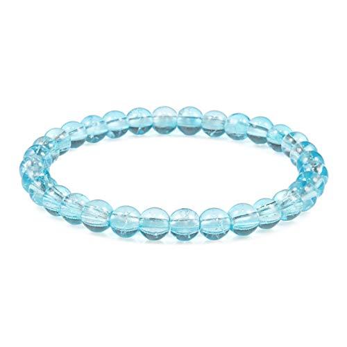 N/A Aniversario del día de la Madre Pulsera de Cuentas de 6mm de Piedra Natural para Mujer, Pulseras de Cristal Agrietado Azul Claro Violeta para Regalos de joyería Femenina