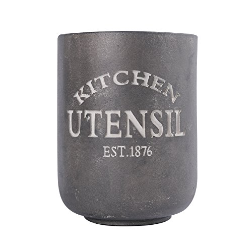 NIKKY HOME Resin Farmhouse Kitchen Utensil Crock Holder for Storage, 5.43 x 5.43 x 7.09 inches, Gray