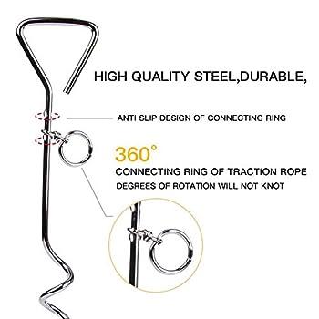JTYR Câble d'attache pour Chien, 3 m | 5m | 10 m avec Piquet d'ancrage en Spirale, Accessoires de Camping pour Piquet de Terre en Spirale en métal pour Animaux de Compagnie,Bleu,33ft(10m)