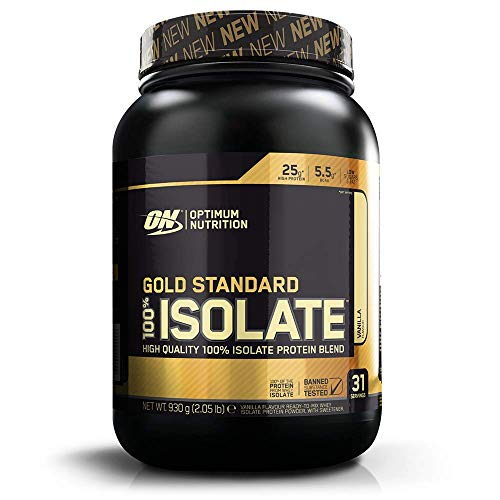 Optimum Nutrition Gold Standard Isolate Eiweißpulver (mit Glutamin und Aminosäuren, Whey Isolate Protein Shake von ON) Vanilla, 31 Portionen, 1er Pack(1 x 930 g)