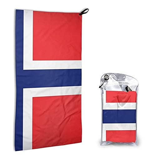 DJNGN Toalla de playa de microfibra con bandera de Noruega | Toalla sin arena, liviana, de secado rápido, compacta Toalla de baño para adultos Toalla plegable fácil de llevar Toalla de secado rápido 1