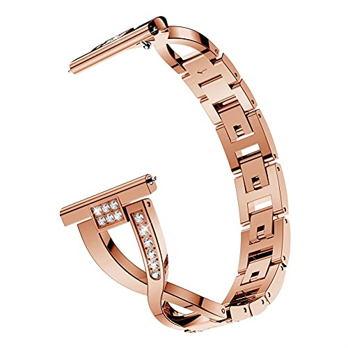 Para Samsu Galaxy Watch Active 2 1diamond Metal Pulsera De Metal Para Galaxy Watch 3 45mm / 41mm / 46mm / 42mm Strap 1033 (Band Color : Rose gold, Band Width : For Watch Active)